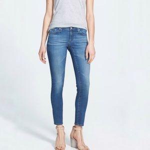 Ag the Stevie ankle slim straight light wash jeans